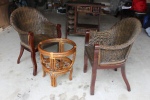 Rattan chairs, coffee table and bar