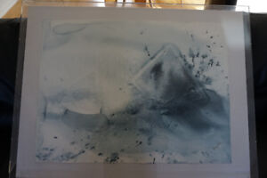Abstract blue grey signed art - in clear Acrylic Art Box