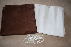 Brown Fabric Shower curtain, liner and hooks