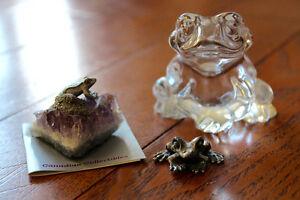 3 Frog Figurines