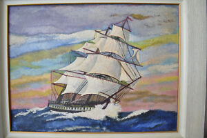 Ship in rough seas OIL ON BOARD VINTAGE PAINTING SIGNED