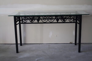 Elegant Black Wrought Iron Hall Table