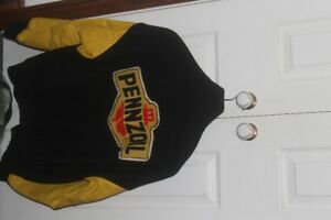 Pennzoil Melton and Leather Jacket - Size M