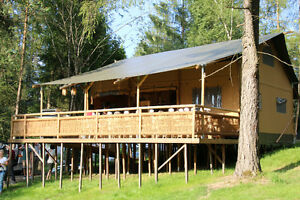 Glamping lodge, safari tent, barnwood interior, resort
