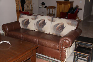 A Rare Find -Custom Buffalo Couch and Arm Chair - Mint condition