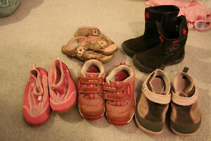 5 Pairs girls shoes size 10 incl boots and stride right sneakers
