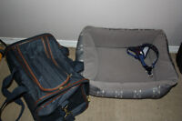 Small pet carrier, harness and bed