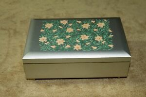 Music Jewelry Box Matallic Color Flowers Lid Waltz of Flowers