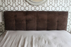 Pier One Chocolate Brown Upholstered Headboard - Queen Size