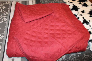 Queen Red Quilted bedspread and Two shams