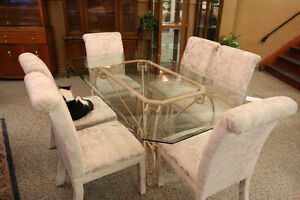 Glass Dining Table + 6 Upholstered Chairs