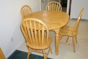Solid Maple Dining Table with Six Chairs