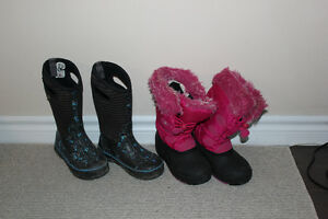 Girls Bogs and Kamik winter boots