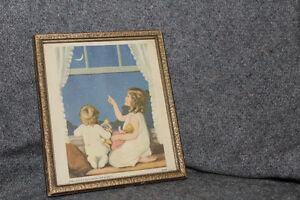 Two framed lithographs. Military and Children
