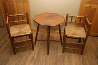 Antique Hall /Side Table and Chairs with Rush Seats