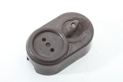 Old Bakelite Socket Exposed with Rotary Switch Combination Art Deco Switch