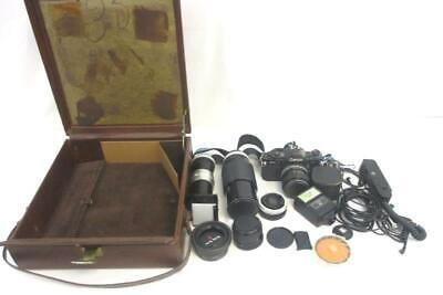 Canon A-1 Camera-Powers On And Images + 11 Filters, Flash, Dupliscope, Winder