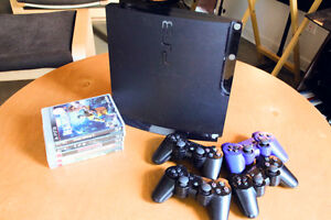 250gb PS3 Slim w/ 4 controllers, games & HDMI cable