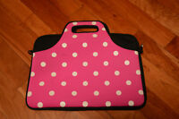 Used Poke-A-Dot Pink Laptop Case with Pockets and Handle