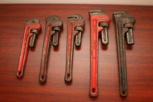 "Pipe Wrenches - Ridgid etc - 18""; 14""; 12""; 10""; 8""; 6"""