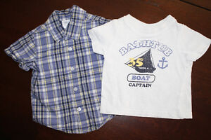 Short-Sleeve Button-up Shirt & T-Shirt Set- 6-9 months