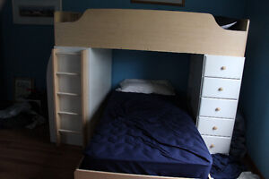 Fabulous bunk beds, complete with desk, shelves and drawers.