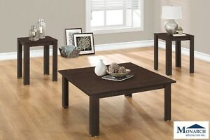 Square Cappuccino 3-Piece Table Set
