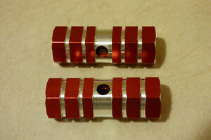 2pcs Bicycle Aluminum Alloy Pegs (Red)