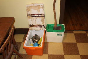 Camping & Fishing gear box rods coolers axe book reels etc...