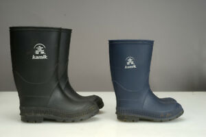 Children's Kamik Rain Boots Black Size 13 and Blue Size 10