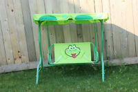 Kid's porch swing (frog theme)