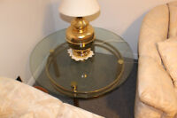 2 round thick glass coffee tables