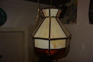 Vintage Stained Slag Glass Hanging Ceiling Lamp Light Chandelier