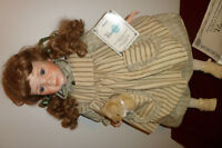 "Gorgeous Porcelain 20"" Tall Doll with Cert. of Authenticity"