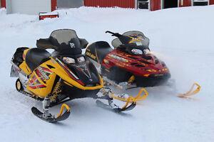 2005 & 2002 Ski-Doo MX-Z 800 H.O. + Enclosed Trailer + EXTRAS