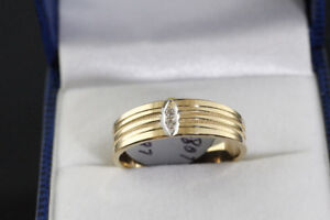 NEW SOLID STAMPED 10K. GOLD & DIAMOND BAND FOR SALE