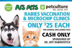 $25 Rabies Vaccinations and/or Microchips Clinic