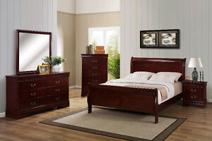 Dark Wood Bedroom Set - Head/Foot Board, Side Table, Dresser