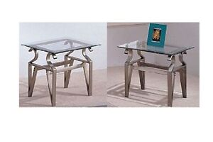 (2) Decorative End Tables w Tempered Glass Top