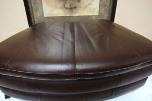 Excellent Large Leather Pie Shaped Storage Ottoman SEE VIDEO