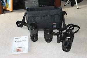 Pentax KM/K2000 DSLR Camera with Two Manual Zoom Lenses