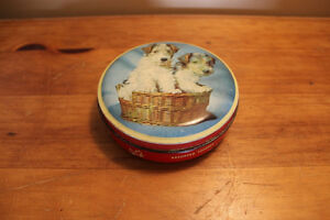 Vintage Small Toffee Tin - Picture of Dogs