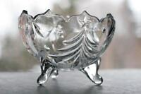 Mikasa crystal bowl, round footed, Christmas themed