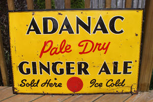 TWO 1940's Adanac Ginger Ale Signs London Ontario image 7