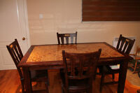 Dining Table and 4 Chairs with tile inlay