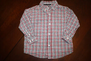 Red Plaid Button Down Shirt- 3T