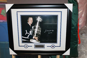 Johnny Bower signed autograph Toronto Maple Leafs frame