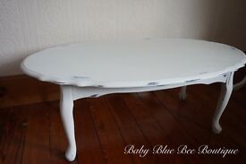 White Vintage Coffee Table Solid Wood Shabby Chic