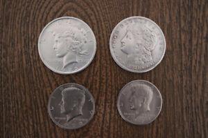 4 pièces de monnaies américaines
