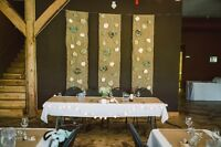 Burlap and Fabric Flower Wall Hangings